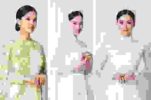 Hoa hậu Tiểu Vy e ấp trong trang phục áo dài cô dâu