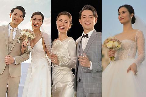 Đông Nhi thay ba bộ váy trong đám cưới