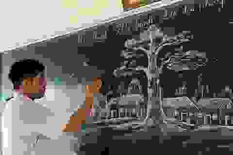 """Chia sẻ của thầy giáo 8X gây """"bão mạng"""" từ tranh vẽ bằng phấn trắng trên bảng đen"""