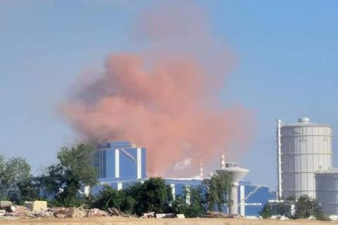 """""""Đám mây"""" hồng xuất hiện tại dự án thép Hòa Phát Dung Quất"""
