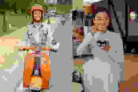 Lương Thùy Linh đi xe máy, ngồi lề đường thưởng thức tàu phớ khi tham quan Đà Lạt