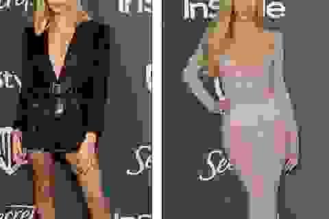 Vợ Justin Bieber khoe chân dài, Paris Hilton diện váy xuyên thấu dự tiệc Quả Cầu Vàng