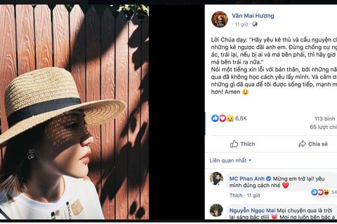 """Văn Mai Hương lần đầu lộ diện, nhắn nhủ """"phải mạnh mẽ"""" sau khi lộ clip nhạy cảm"""