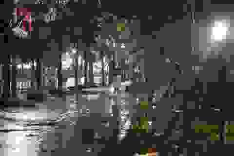 Mưa lạnh đêm 30 Tết, hồ Gươm thưa thớt người chờ xem pháo hoa