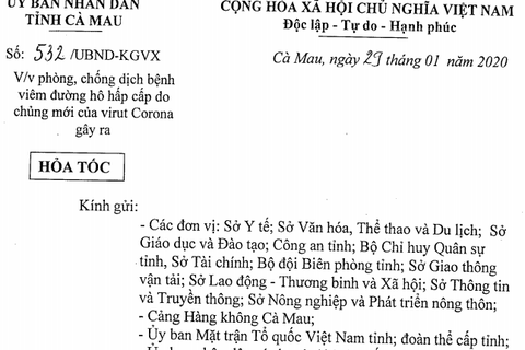 Cà Mau khuyến nghị hạn chế di chuyển du khách Trung Quốc