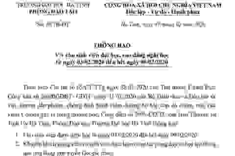 Trường ĐH Hà Tĩnh cho sinh viên nghỉ học để phòng tránh virus Corona