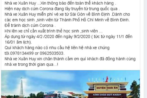 Miễn vé xe cho sinh viên Bình Định ở TPHCM về quê nghỉ tránh virus corona