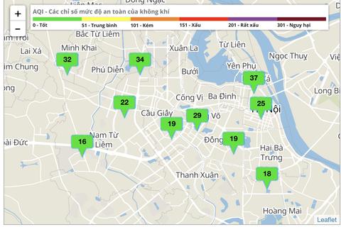 Ngày thứ 5 thực hiện cách ly xã hội, chất lượng không khí Hà Nội ở mức tốt