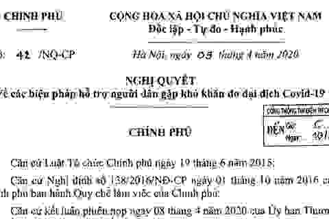 Nghị quyết về các biện pháp hỗ trợ người dân gặp khó khăn do dịch Covid-19