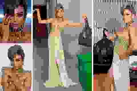 Hài hước hình ảnh Võ Hoàng Yến lên đồ dạ hội… đi đổ rác