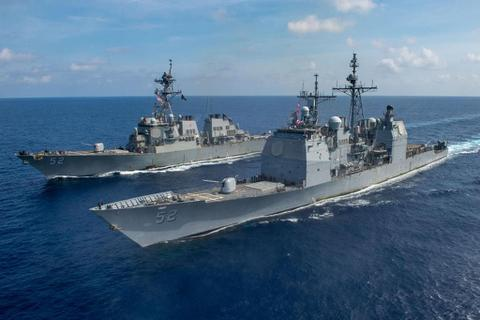 Tàu hộ vệ Australia diễn tập cùng 3 tàu chiến Mỹ trên Biển Đông