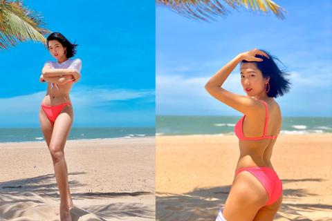 Diễn viên Thuý Ngân khoe dáng quyến rũ với bikini bên bãi biển