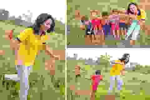 H'Hen Niê hồn nhiên vui đùa cùng trẻ em trong ngày Quốc tế thiếu nhi
