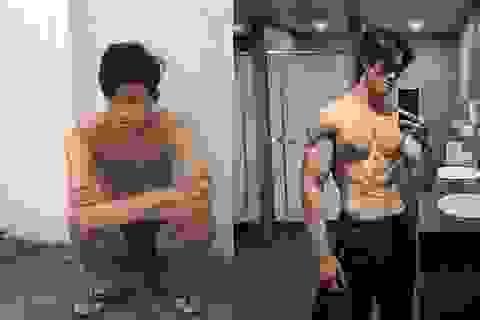 """Tăng gần 20kg một năm, 9X gầy gò hóa chàng trai """"6 múi"""" đầy ngoạn mục"""