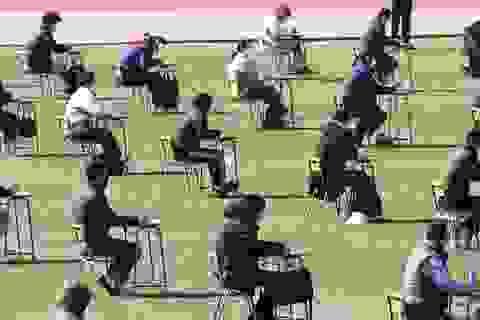 Hơn 100 ứng viên làm bài thi tuyển dụng tại sân vận động vì Covid-19