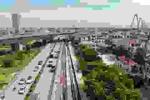 Nhìn từ trên cao dự án dựng tường bê tông, mở rộng đường đến cầu Nhật Tân
