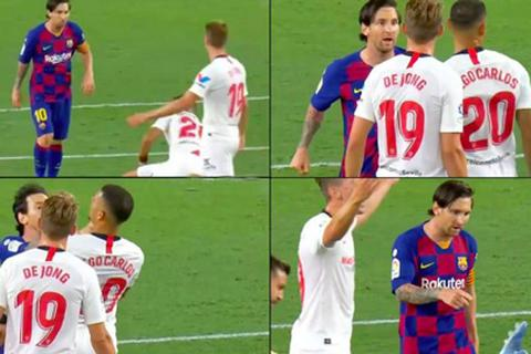 Luis Suarez bị chơi xấu, Messi nổi điên xô ngã đối phương