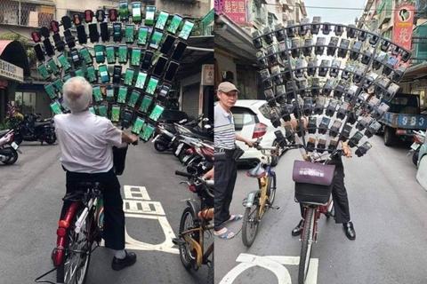 """Cụ ông 70 tuổi mang 64 chiếc điện thoại thông minh đi """"bắt"""" Pokemon"""