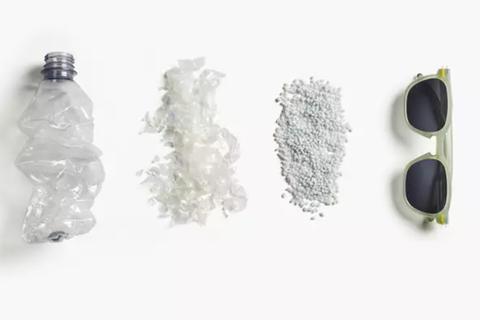 Tái chế chai nhựa qua sử dụng thành... kính râm