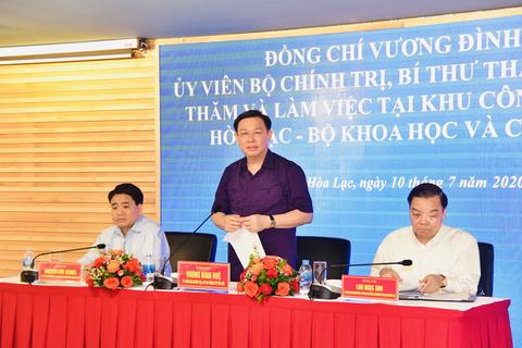 """Bí thư Hà Nội tháo gỡ khó khăn và """"hiến kế"""" phát triển Khu CNC Hòa Lạc"""