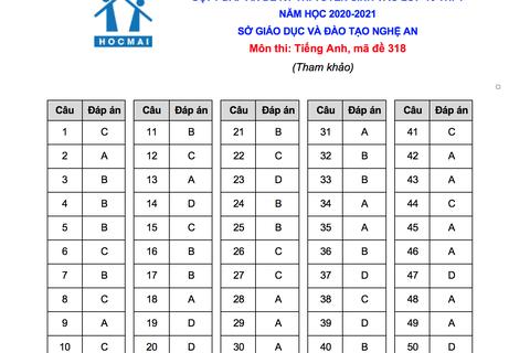 Gợi ý giải đề thi môn tiếng Anh vào lớp 10 của tỉnh Nghệ An