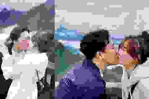 Vợ chồng Trấn Thành tình tứ hôn nhau trên đỉnh Phan-xi-păng