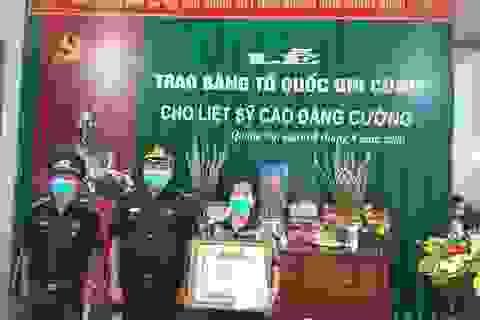 Thanh Hoá: Trao Bằng Tổ quốc ghi công tới gia đình Thượng tá Cao Đăng Cường