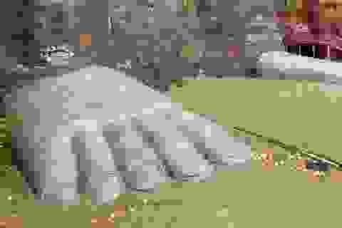 Lũ lớn dâng ngập bệ chân tượng khổng lồ ở Trung Quốc