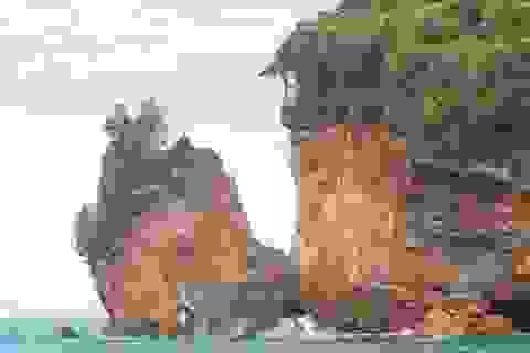 Một phần hòn đảo bất ngờ bị vỡ do mưa lớn và sóng mạnh