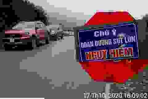 Sụt lún tại dốc nguy hiểm nhất tuyến đường miền Tây xứ Nghệ