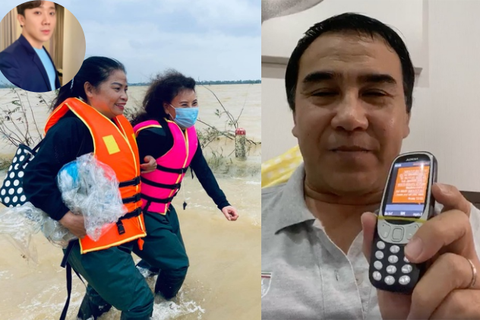 """Sao """"lén"""" ủng hộ hàng tỷ đồng, dùng điện thoại """"cục gạch"""" xông xáo cứu trợ"""