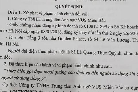 Hà Nội: Trung tâm Anh ngữ bị phạt nặng vì gọi điện quảng cáo