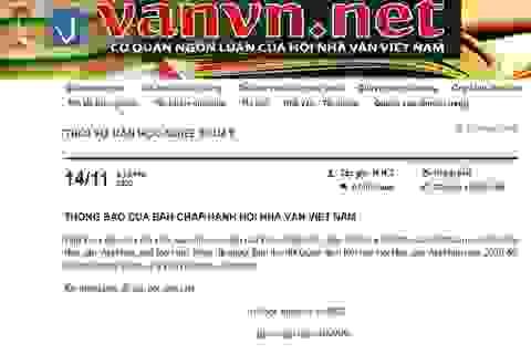 """Hội Nhà văn Việt Nam thu hồi quyết định kết nạp một hội viên vì """"đạo thơ"""""""