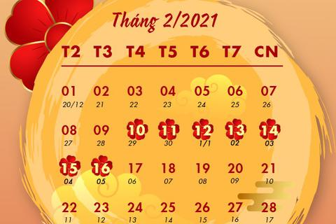 Chính thức chốt lịch nghỉ Tết Nguyên đán Tân Sửu