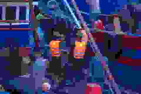 Nỗ lực cứu 2 tàu cá gặp nạn trên biển giữa mưa to, sóng lớn