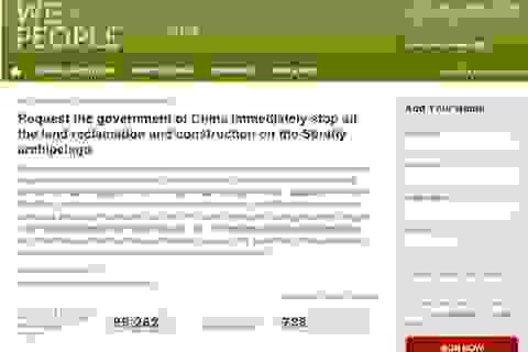 Kiến nghị Mỹ yêu cầu Trung Quốc ngừng ngay việc xây dựng ở Trường Sa