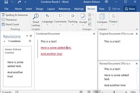 Sử dụng tính năng so sánh và kết hợp tài liệu trong Word