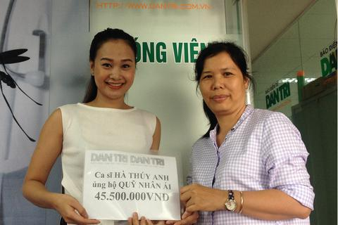 Ca sĩ Hà Thúy Anh trích tiền thưởng ủng hộ Quỹ Nhân ái 45.500.000 đồng