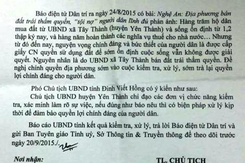 UBND tỉnh Nghệ An yêu cầu kiểm tra vụ địa phương bán đất trái thẩm quyền