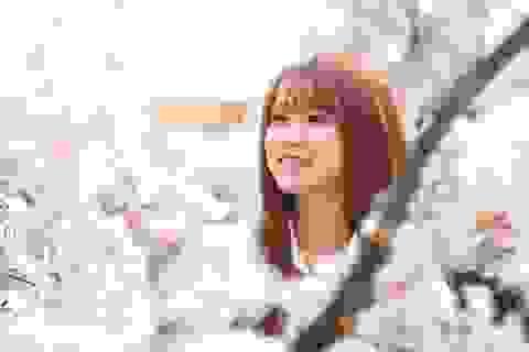 Nữ sinh tuổi 18 xinh xắn, hồn nhiên bên hoa anh đào