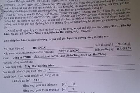 """Đoàn xe """"khủng"""" không phép: Cảng Hải Phòng xếp hàng theo... giấy phép giả!"""