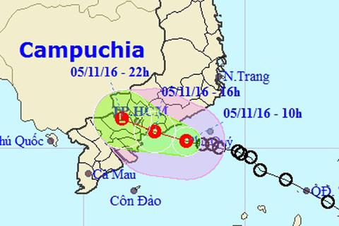 Chiều nay áp thấp nhiệt đới vào đất liền khu vực Đông Nam Bộ