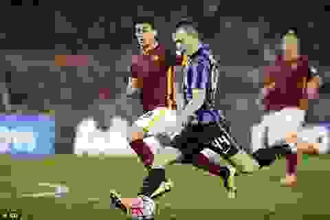 """Inter rơi điểm đáng tiếc trong """"trận cầu 6 điểm"""" với Roma"""