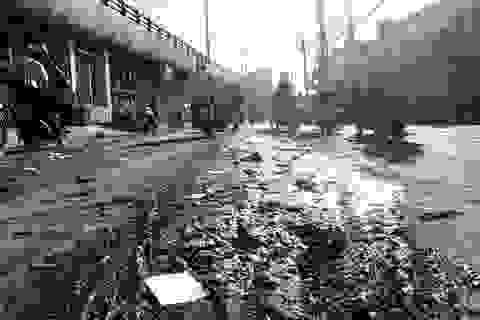 Bùn thải hôi thối đổ đầy mặt đường