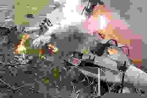 Mátxcơva: Trực thăng chiến đấu lao xuống sát khu dân cư bốc cháy