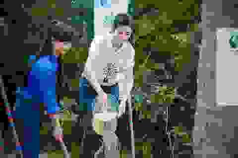Hoa hậu Ngọc Hân trồng cây tại khu mộ Đại tướng Võ Nguyên Giáp