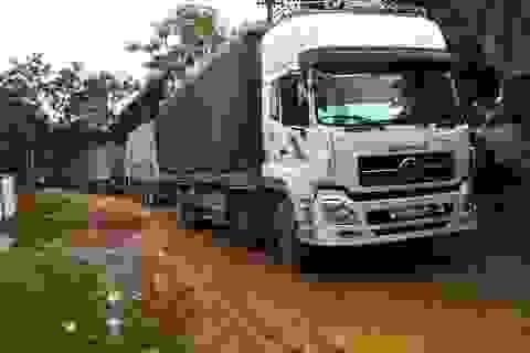 """Gần 100 trăm xe chở gỗ """"khủng"""" chủ động hạ tải"""