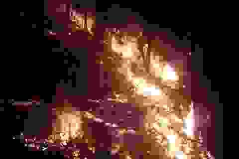 Công an, bộ đội trắng đêm dập lửa cứu rừng thông