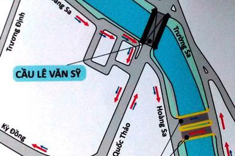 TPHCM: Đóng cầu Lê Văn Sỹ, điều chỉnh 2 tuyến buýt