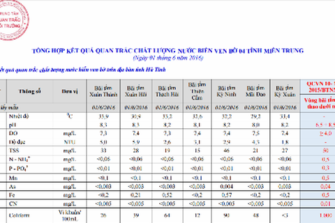 Hai bãi tắm ở Hà Tĩnh có hàm lượng sắt vượt ngưỡng cho phép